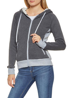 Color Block Hooded Zip Up Sweatshirt - 3056072291752
