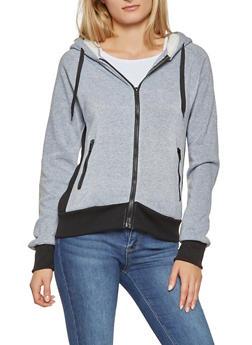 Color Block Hooded Zip Up Sweatshirt - 3056072291752