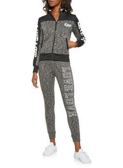 Love Graphic Zip Up Sweatshirt - 3056072291872
