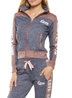 Love Graphic Zip Up Sweatshirt - 3056072291920