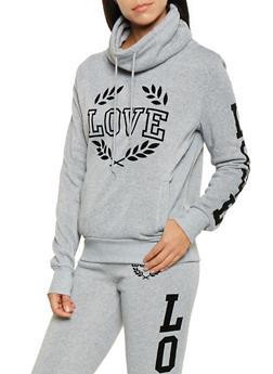Love Graphic Funnel Neck Sweatshirt - 3056072292090