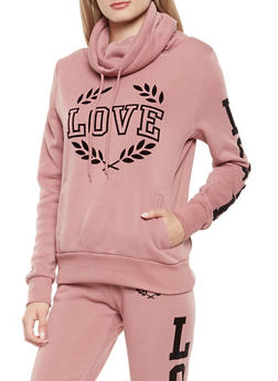Love Graphic Funnel Neck Sweatshirt - 3056072292090