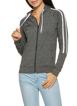 Side Stripe Zip Up Sweatshirt - 3056072292280