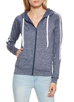 Side Stripe Zip Up Sweatshirt - 3056072292280