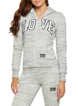 Marled Love Graphic Zip Front Sweatshirt - 3056072292300