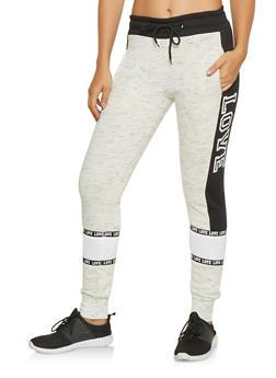 Love Graphic Color Block Sweatpants - 3056072292431