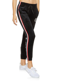 Love Graphic Velour Sweatpants - 3056072292541