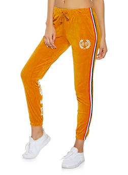 Love Graphic Velour Sweatpants - 3056072292541