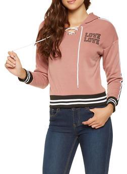 Lace Up Love Graphic Sweatshirt - 3056072292560