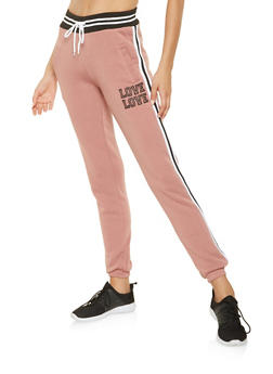 Love Graphic Side Tape Joggers - 3056072292561