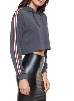 Cropped Striped Sleeve Sweatshirt - 3056072292770
