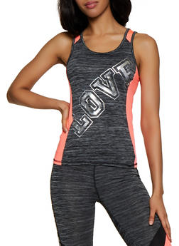 Color Block Foil Love Active Tank Top - 3058038345560