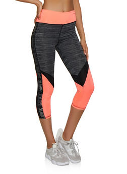 990f7d4e013749 Color Block Foil Love Active Leggings - 3058038345561