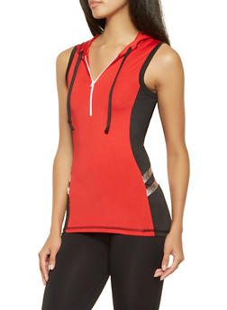 Half Zip Hooded Active Top - 3058038345610