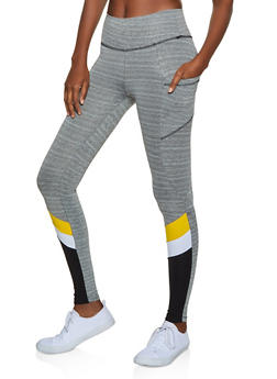 Color Block Detail Active Leggings - 3058038346051