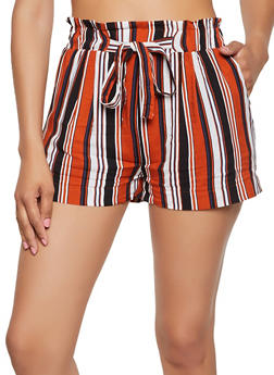 Tie Paper Bag Waist Lightweight Striped Shorts - 3060054264467