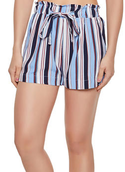 Tie Paper Bag Waist Lightweight Striped Shorts - 3060054264467