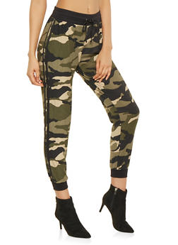 Camo Varsity Stripe Joggers - OLIVE - 3061001443203