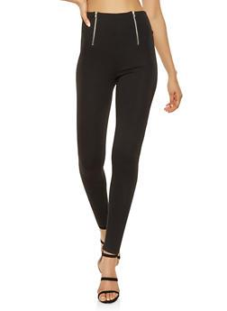 High Waisted Zipper Detail Ponte Pants - 3061015990023