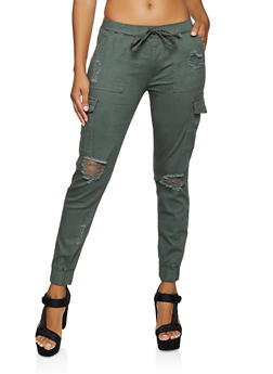 Distressed Twill Cargo Joggers - 3061015990433