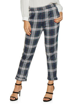Striped Tape Trim Plaid Pants - 3061015997512