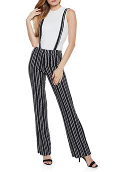 Flared Striped Suspender Pants - 3061020623337