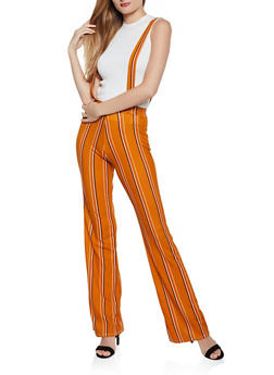 Flared Striped Suspender Pants - 3061020623337
