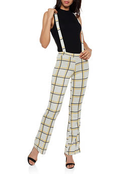 Plaid Flared Knit Suspender Pants - 3061020624369