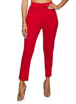Tabbed Waist Crepe Knit Dress Pants - 3061020626187