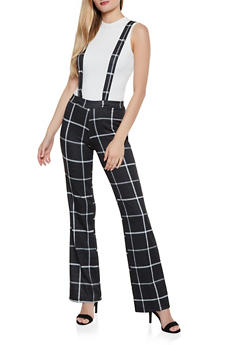 Plaid Flared Suspender Pants - 3061020628737
