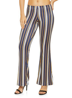 Striped Soft Knit Flared Pants - 3061038347951