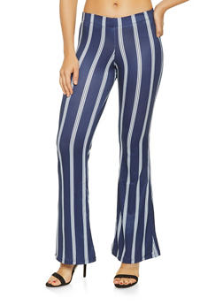 Flared Soft Knit Striped Pants - 3061038347952