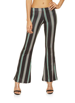 Striped Soft Knit Flared Pants - 3061038347957