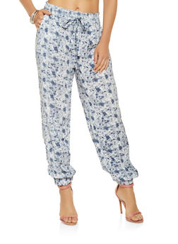 Printed Tie Waist Joggers - 3061038349129