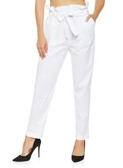 Belted Paper Bag Waist Pants - 3061038349201
