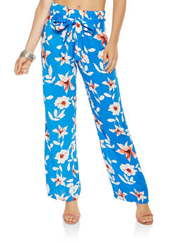 Floral Tie Front Palazzo Pants - 3061038349230