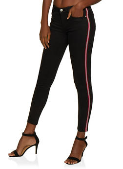 Striped Tape Trim Twill Pants - 3061051060082