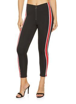 Striped Trim Skinny Pants - 3061051063769
