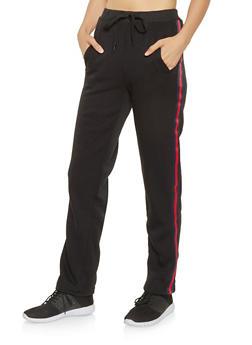 Striped Ribbon Tape Sweatpants - 3061051063942