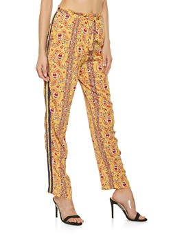 Printed Side Stripe Pants - 3061051064031