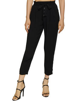 Solid Tie Waist Pants - 3061051064317