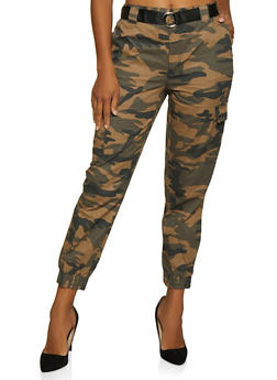 Camo Belted Cargo Joggers - 3061051064388