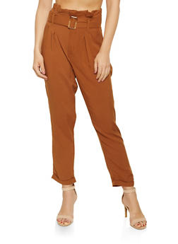 Belted Paper Bag Waist Pants - 3061051068034