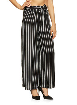 Striped Tie Front Palazzo Pants - BLACK/WHITE - 3061051069385