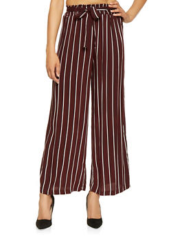 Striped Tie Front Palazzo Pants - 3061051069385
