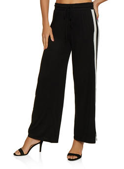 Striped Detail Wide Leg Pants - 3061054260858