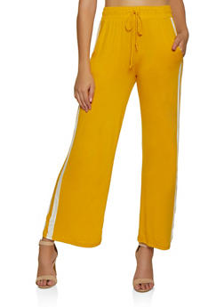 Striped Detail Wide Leg Pants - 3061054260858