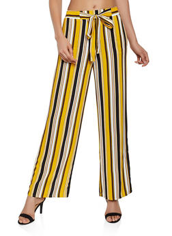 Striped Tie Front Palazzo Pants   3061054261213 - 3061054261213