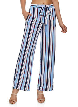 Striped Tie Front Palazzo Pants | 3061054261213 - 3061054261213