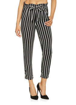 Striped Paper Bag Waist Pants - 3061054264841